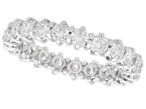 1ct Diamond & 14ct White Gold Full Eternity Ring - Vintage c.1970 (1 of 9)