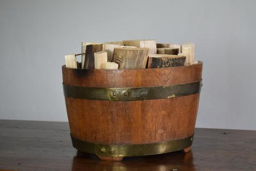 Coopered Oak Log Bin with Brass Banding (1 of 10)