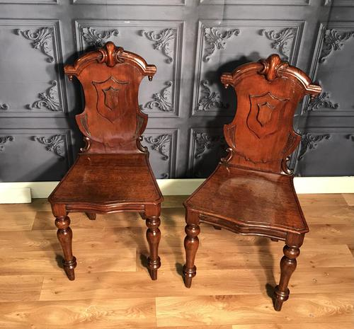 Pair of Victorian Mahogany Hall Chairs 318 (1 of 14)