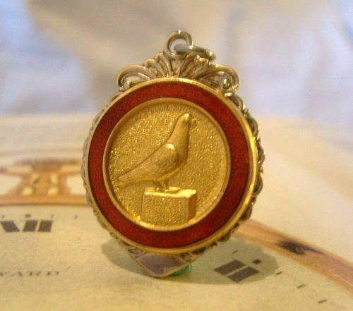 Vintage Pocket Watch Chain Fob 1940s Silver Chrome & Enamel Racing Pigeon Fob Nos (1 of 8)
