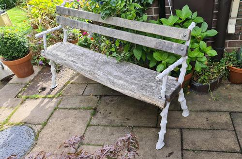 19th Century Cast-iron and Oak Garden Bench (1 of 6)