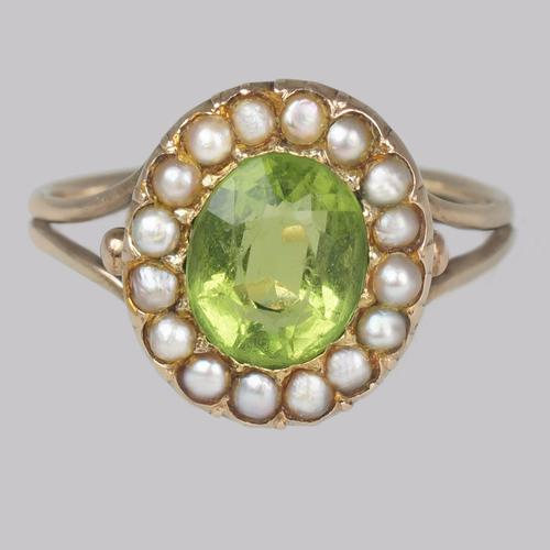 Victorian Peridot & Natural Pearl Cluster Ring 18ct Gold Antique Ring circa 1860 (1 of 8)