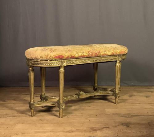 French Giltwood Tapestry Upholstered Window Seat (1 of 10)