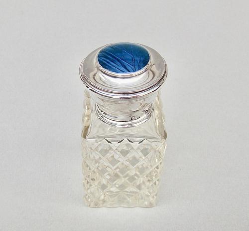 """George V Silver & """"Butterfly Wing"""" Glass Scent Bottle by G. W. Aldridge, Birmingham 1924 (1 of 8)"""