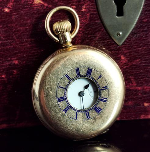 Antique Half Hunter Pocket Watch, Gold Plated, Waltham (1 of 11)