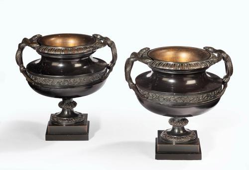 Handsome Pair of 19th Century Bronze Neoclassic Urns (1 of 7)