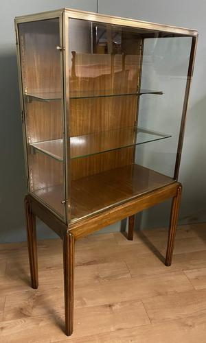 Brass Glazed Shop Display Cabinet on Wooden Stand with Drawer (1 of 13)