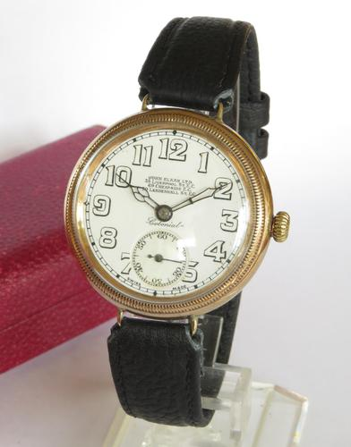 Gents 9ct Gold Colonial Wrist Watch, John Elkan (1 of 7)