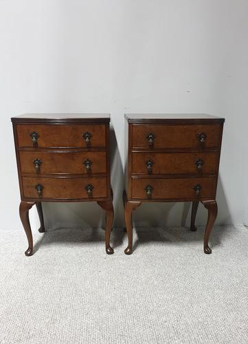 Pair of Burr Walnut Bedside Lamp Chests of Drawers (1 of 7)