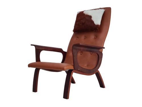 Danish armchair, cowhide, cognac leather, 1970s (1 of 20)