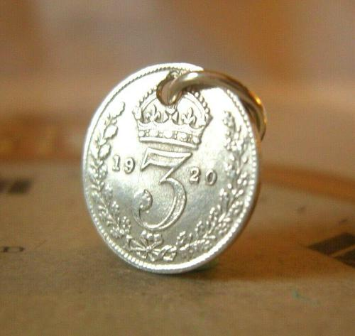 Antique Pocket Watch Chain Fob 1920 Silver Lucky Three Pence Old 3d Coin Fob (1 of 8)