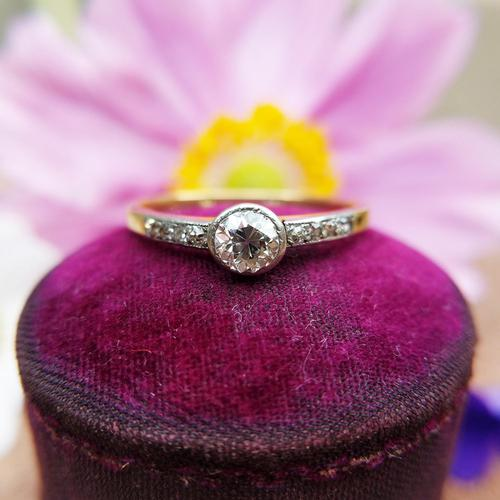 Antique 18ct Gold Diamond Solitaire Ring, Old Cut Engagement Ring (1 of 6)