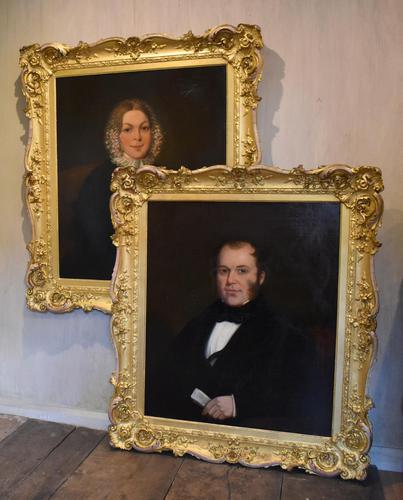 Large Pair of Victorian Oil Portraits (1 of 8)