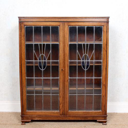 Oak Leaded Stained Glazed Bookcase Arts & Crafts Edwardian (1 of 11)