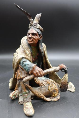 Beautifully Modelled Early 20th Century Bronze of a Medicine Man by Carl Kauba (1 of 5)
