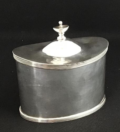 Mappin & Webb Antique Silver Plated Oval Tea Caddy (1 of 6)