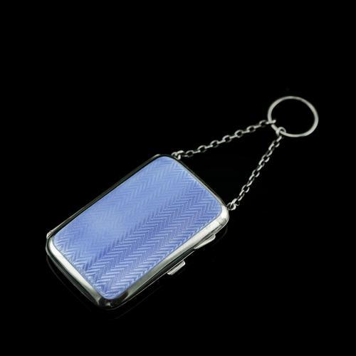 Antique Solid Silver Blue Enamel Guilloche Cigarette Case - Robert Chandler 1916 (1 of 15)