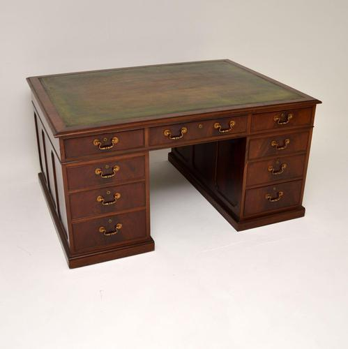 Antique Mahogany Leather Top Partners Desk (1 of 12)
