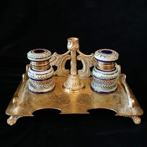 Antique Brass and Porcelain Double Inkwell with Candlestick (1 of 10)