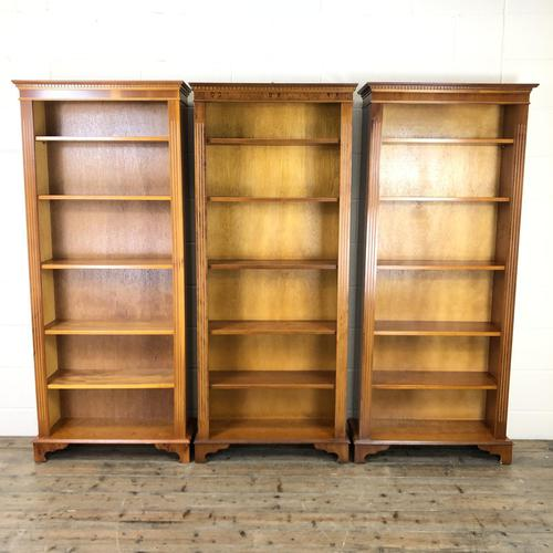 Three Yew Wood Reproduction Bookcases (1 of 9)