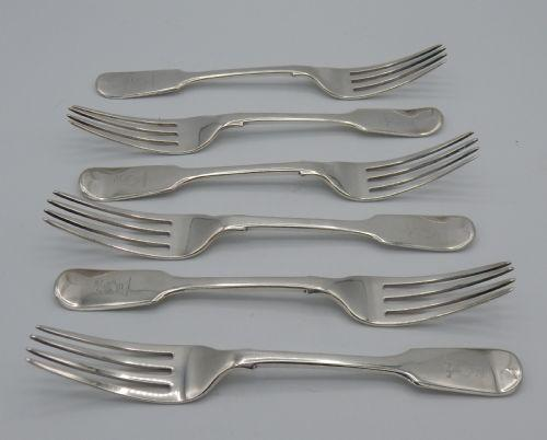 Six Early Victorian Fiddle Pattern Silver Table Forks (1 of 6)