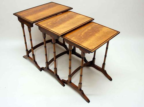 Nest of Three Early 20th Century Flame Mahogany Side Tables (1 of 7)