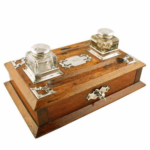 Victorian Oak Inkwell Stand (1 of 7)