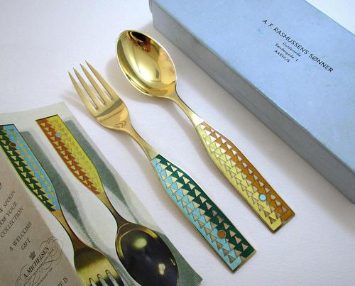A Michelsen Danish Solid Sterling Silver Enamel, Christmas 1960 Spoon & Fork Pair Set. Solstice (1 of 8)