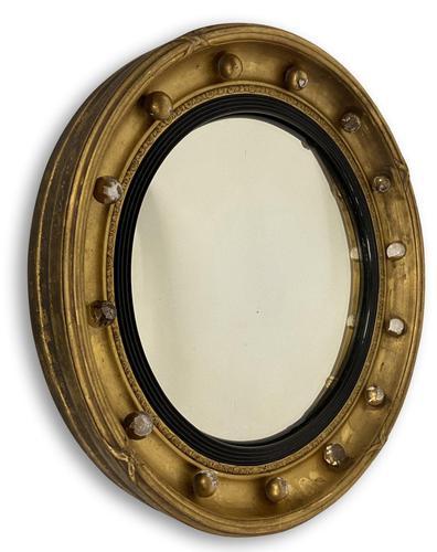Regency Gilt Round Convex Mirror (1 of 5)