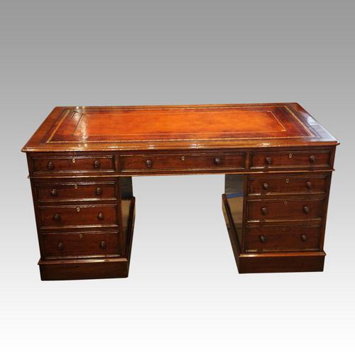 Victorian Mahogany Pedestal Desk (1 of 10)