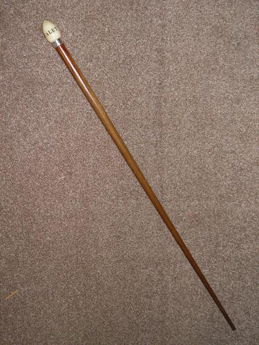 Edwardian 1904 Hallmarked Silver Oak Wood Walking Cane W/Teardrop Handle 'Valet' (1 of 14)