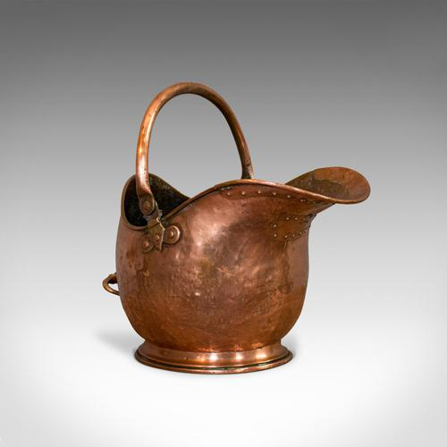 Antique Helmet Scuttle, Copper, Coal, Bucket, Fireside, Bin, Victorian c.1880 (1 of 9)