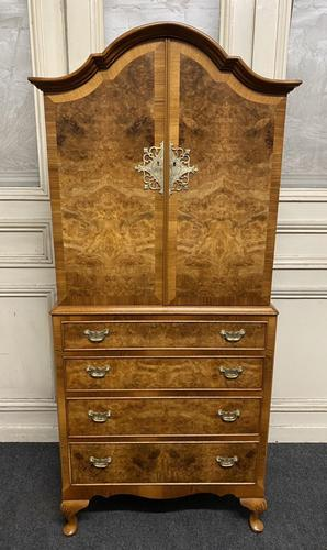 Burr Walnut Cupboard Over Chest (1 of 15)