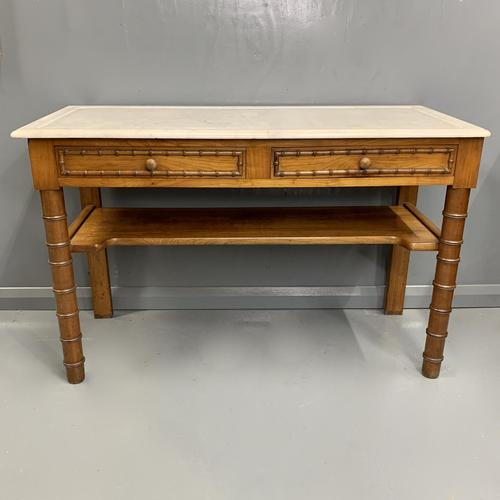 French Marble Top Faux Bamboo Dressing Table (1 of 8)