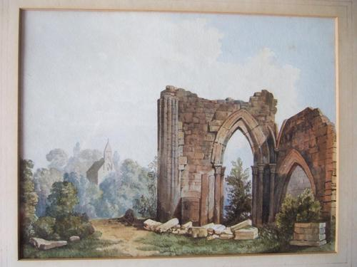 19th Century Watercolour of Newminster Abbey, Northumberland. (1 of 4)