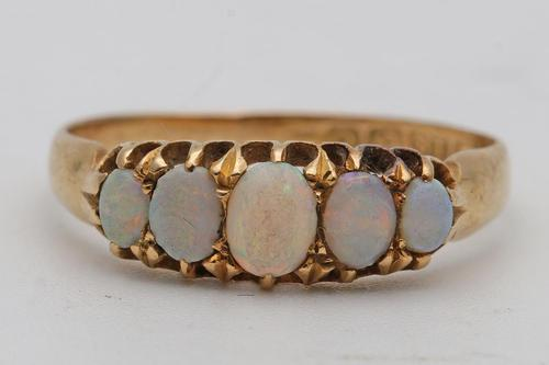 Edwardian 1905, 18ct Gold Opal Five-stone Ring (1 of 3)