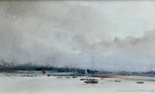 Ian Armour-chelu Watercolour  'On The Estuary, The Alde' (1 of 2)