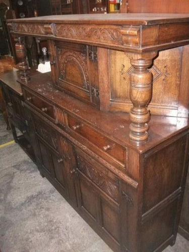 Ornately Carved Oak Court Cupboard (1 of 4)