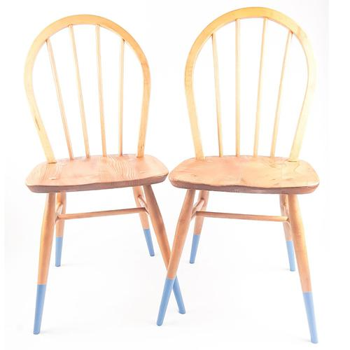 Pair of Ercol Windsor Chairs with Blue Legs (1 of 7)