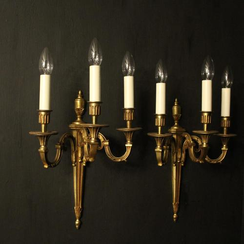 French Pair Of Gilded Triple Arm Antique Wall Lights (1 of 9)