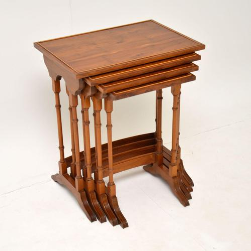 Antique Yew Wood Nest of 4 Tables (1 of 9)