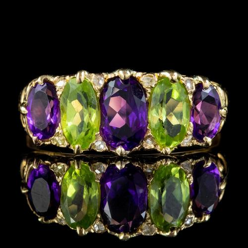 Antique Edwardian Suffragette Ring 18ct Gold Peridot Amethyst Diamond c.1910 (1 of 5)