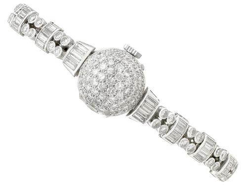 4.82ct Diamond Admina Cocktail Watch in Platinum - Art Deco - Vintage c.1940 (1 of 15)