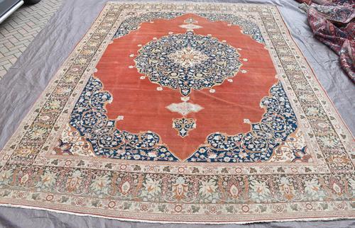 Antique Tabriz roomsize carpet 397x302cm (1 of 8)