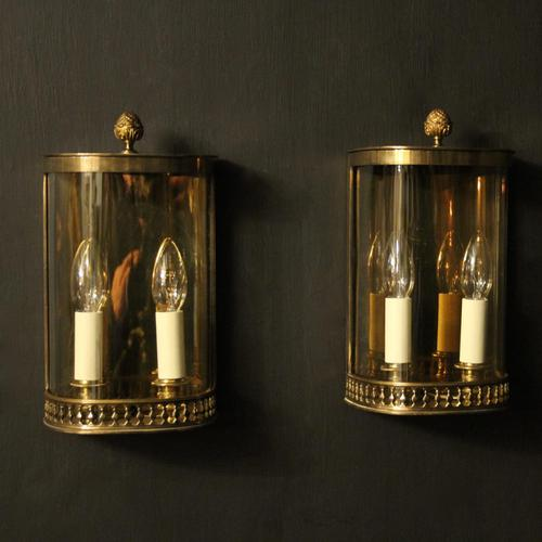 French Pair of Brass Antique Half Wall lanterns (1 of 10)