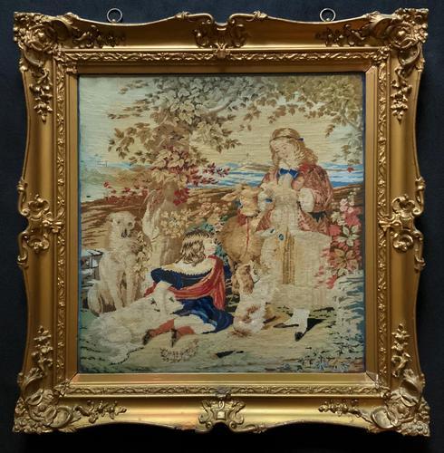 Large Beautiful Framed Original 19thc German Berlin Needlework Tapestry Picture (1 of 15)