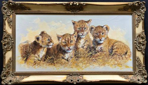 Exceptional 'pride Of Lion Cubs' Large Wildlife Oil Painting By 'silvia Duran' (1 of 12)
