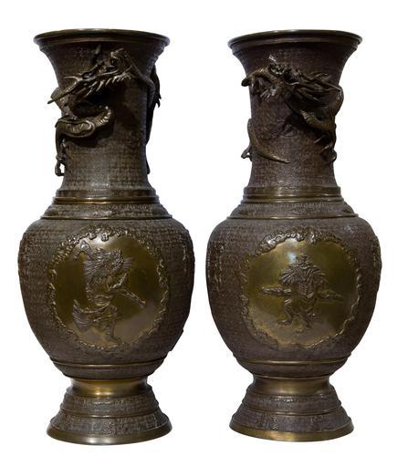 Pair of Japanese Bronze Vases (1 of 5)