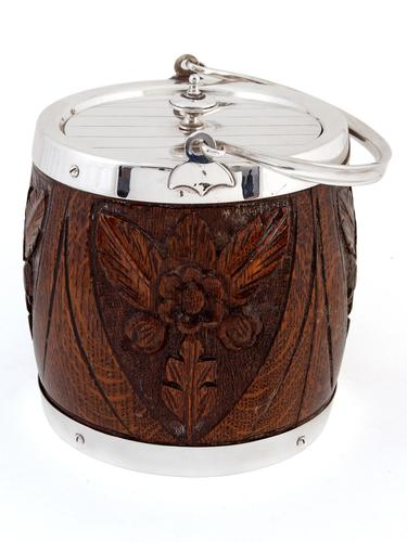 Carved Wood & Silver Plated Barrel with a White China Liner (1 of 4)