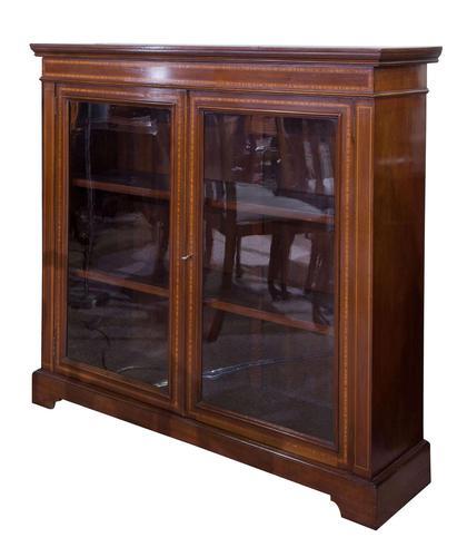 Edwardian Mahogany & Satinwood Bookcase (1 of 7)